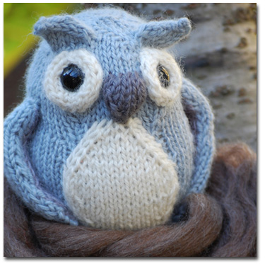 Knitting Patterns and Kits from Knitwhits - Bramble - Owl Softie - Grey