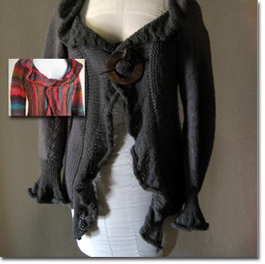 Free Knitting Pattern Ruffle Cardigan : Knitting Patterns and Kits from Knitwhits - Flamenca Ruffled Cardigan