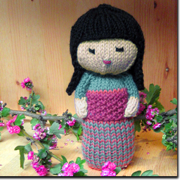 Kokeshi Doll Knitting Pattern : Knitting Patterns and Kits from Knitwhits - Sakura Kokeshi Doll - Aqua