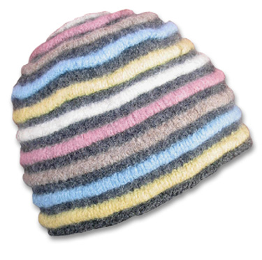 KnitWhits - Knitting Patterns and Kits - Ripley Felted Hat with Raised Stripe...
